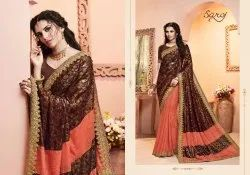 Brown  Color Designer Fancy Lycra Saree