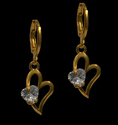 Valentine's Heart Brass Drop Earring