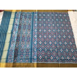 Ladies Blue Designer Semi Patola Saree with Blouse Piece