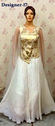 White Gold Engagement Party Indian Ladies Gown
