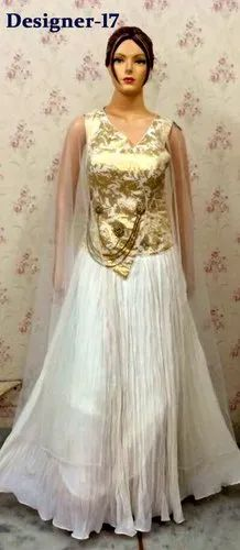 80032ec9bf0 Georgette White Gold Engagement Party Indian Ladies Gown