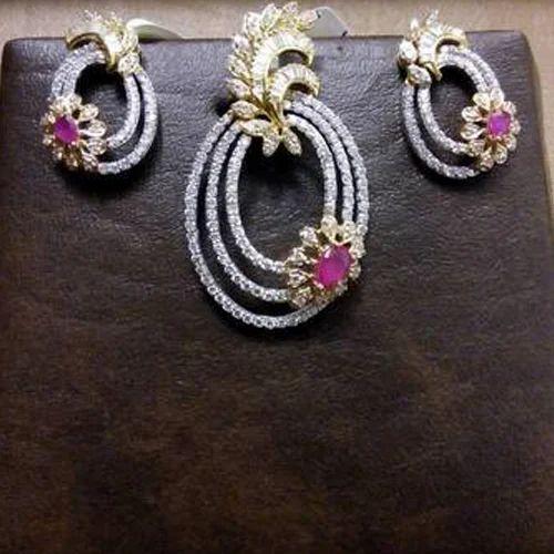 0a85a8621 Designer Diamond Pendant Set at Rs 165000 /set | डायमंड ...