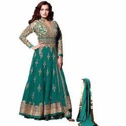 Free Mohini Bridal Wedding Wear Anarkali Net and Banglori Silk Salwar Suit