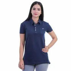 Aesthetic Apparels Half Sleeve Women Plain Collar Neck T-Shirt