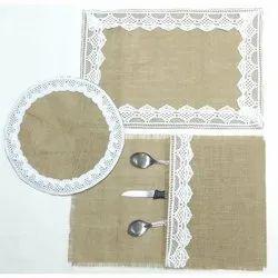 Jute Burlap Table Placemat With Lace