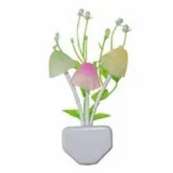 D0206_Night Lamps White Flower Pot Color Changing Light & Mushrooms Light Sensor LED Night Lamp