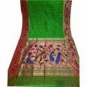 Festive Wear Peacock And Parrot Pure Silk Brocade Paithani Saree