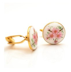 Hand Painted Pink Flowers Cufflinks in 925 Sterling Silver