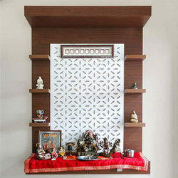 Wooden Brown Pooja Unit, Size: 5 x 2 feet
