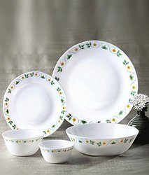 White Bone China Diva Ivory Amber Willow Dinner Set, 33-Pieces, Multicolour