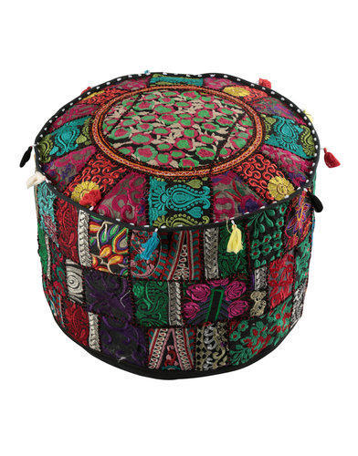Round Fl Embroidered Patchwork Cotton Big Pouf Bench