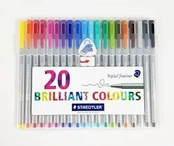 Staedtler 334 SB10 Triplus Fineliner Tip Pen in Staedtler Box - Pack of 20 (Multicolor)