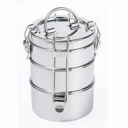 Silver Stainless Steel Lunch Box, Capacity: 500g, Packaging Type: Carton Box