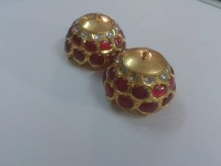 22 Carat Gold Natural Uncut Diamond Polki Jumka  With Ruby Stone