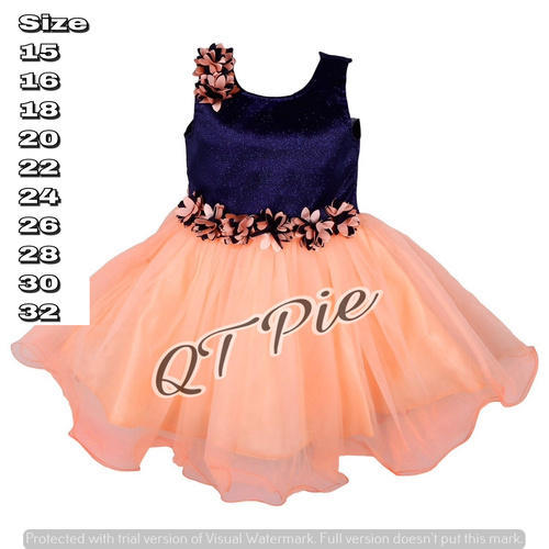 08517c1a18690 Peach, Sea Green Tommato Qt Pie Party Wear Baby Girls Frock Dress ...