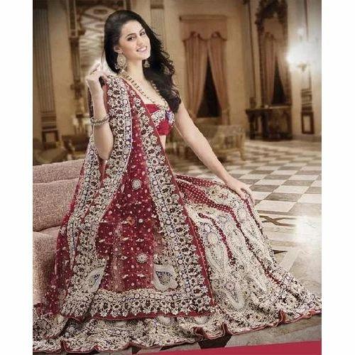 71cb6289ff89 Maroon, Silver Bridal Heavy Work Wedding Lehenga, Rs 20000 /piece ...