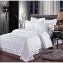Dashing Look White Plain Satin Stripes Bedsheets With Two Pillow Covers