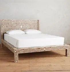 Maple Wood Bone Inlay Bed, Size: 6x6x4 Feet