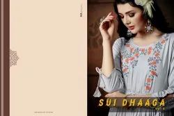 Sui Dhaaga -Shivasuki Party Wear Heavy Rayon With Fancy Embroidery Work Long Kurtis