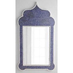 Navy Blue And White Temple Bone Inlay Mirror Frame