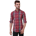 Red Cotton Checks Casual Shirts