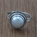 Indian Pearl Gemstone Handmade Jewelry 925 Sterling Ring