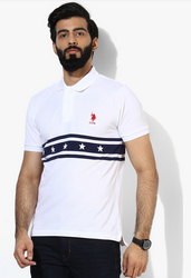 U S Polo Assn White Striped Regular Fit Polo T-Shirt