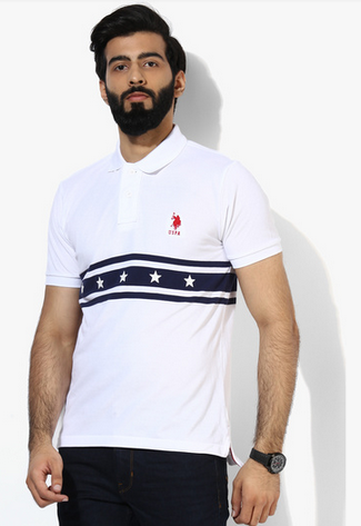 U S Polo Assn White Striped Regular Fit Polo T Shirt At Rs 1080