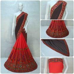 Coffee And Red Color Designer Pallu Half And Half Georgette Saree