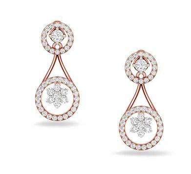 fd67d2400 Rose Gold Elegant Studded Earrings, Rs 63648 /pair, Kirtilal Kalidas ...