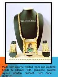 HKRL102 Rope Jewelry Gemstone Painted Pendant