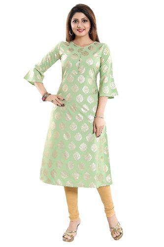 e8af87fa2 Anarkali Bell Sleeves ALC Creations Women  s Crepe Kurti