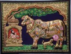 Embossed Kamadhenu Tanjore Painting
