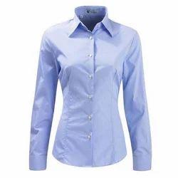 Cotton Blue Women Formal Shirt