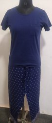Blue Womens Clothing Nightsuit Sets