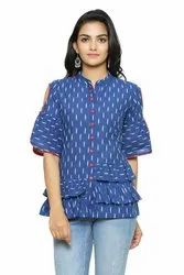 Yash Gallery Women's Cotton Cambric Ikkat Printed Top