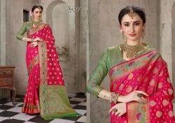 Pink Color Designer Cotton Silk Saree