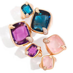 Beautiful Multi Gemstones Womens 925 Gold Plated Sterling Silver Rings
