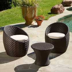 Brown 2 Seater Cane Wicker Garden Table and Chair