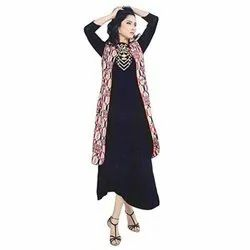 Casual Wear 3/4th Sleeve Ladies Cotton Shrug Style Anarkali Kurti, Size: M-XXL, Wash Care: Dry clean