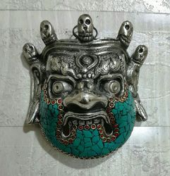 Metal Ghost Mask With Stone Work
