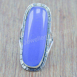 Beautiful Blue Chalcedony Gemstone 925 Sterling Silver Ring