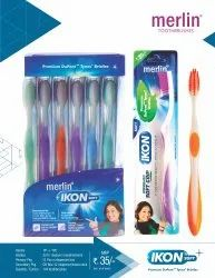 Multicolor Pp Merlin Soft Toothbrush Ikon, For Cleaning Teeth, Packaging Size: 12