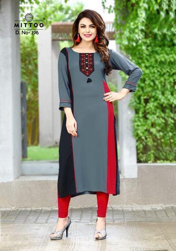 56fa01e462 Casual Wear 3/4th Sleeve Mittoo Payal Vol 9 Rayon Kurti, Rs 445 ...