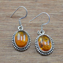 925 Sterling Silver Earring Amber Gemstone Jewelry