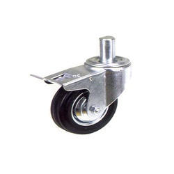 Black Rubber Casters Wheel With Nrb Brake, Size: 3 Inch