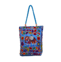 Blue Embroidered Elephant Cotton Bags