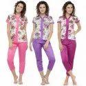 Women's Short Sleeves Floral Print & Satin Top Pyjama Set