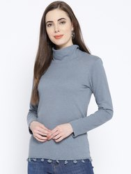 Harbornbay Casual Ladies High Neck Full Sleeve Fancy Top, Size: S
