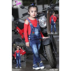 Casual Wear Girl Kids Denim Dungaree With T Shirt